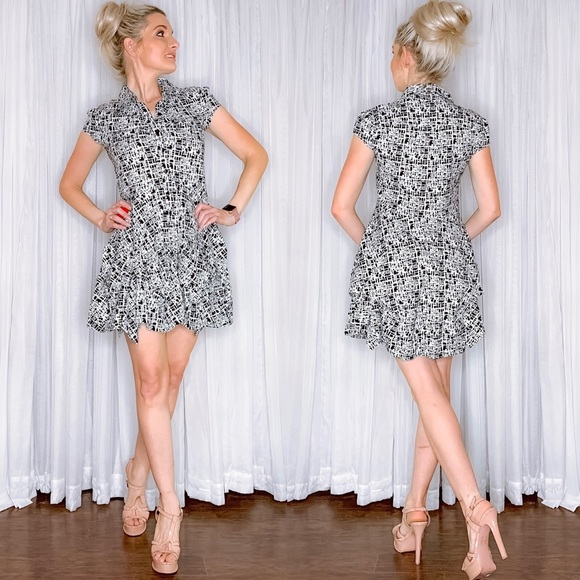 A. Byer Dresses & Skirts - Black White Pattern Button Down Fit Flair Dress